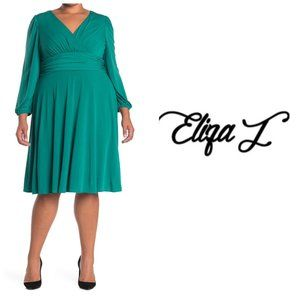 Eliza J V Neck Green Fit & Flare Dress Plus Sz 20W